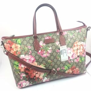 Gucci Bloom GG Supreme ZipTop Tote w/Strap #410748